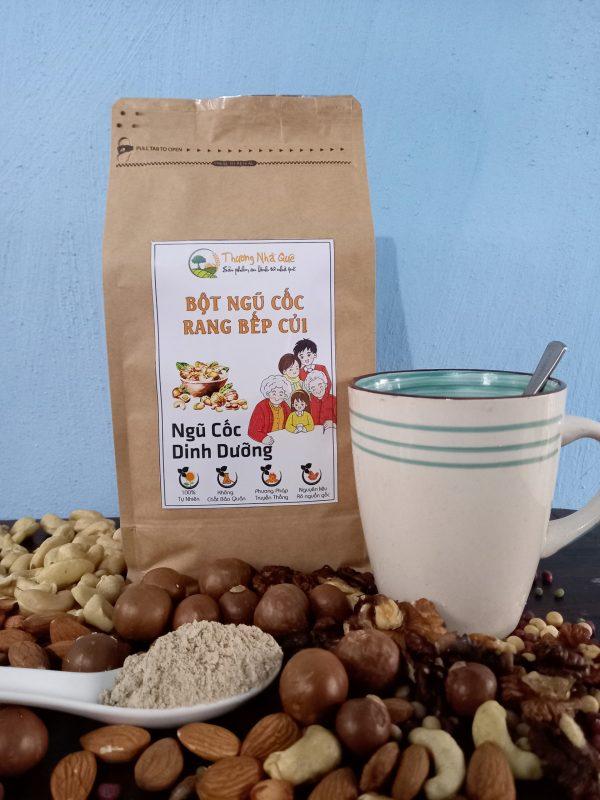 Ngũ cốc dinh dưỡng rang trên bếp củi - thương nhà quê
